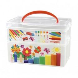Коробка универсальная с ручкой и декором ART BOX 2 секции, 245*160*165 мм