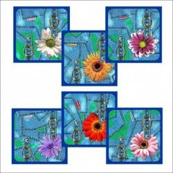 Прихватка Джинс-цветы 6 диз (упак. 12шт)