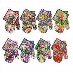 Набор прихватка с рукав. Купеческие Цветы 8диз (упак. 8шт)