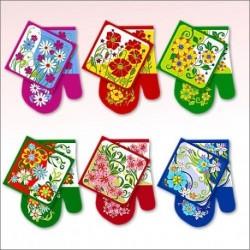Прихватка с рукавицей Полевые цветы 6 диз (упак. 6шт)