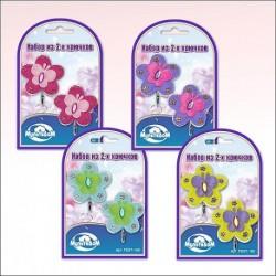Набор крючков Цветы с бабочкой 2 шт 4 цв (упак. 24шт)