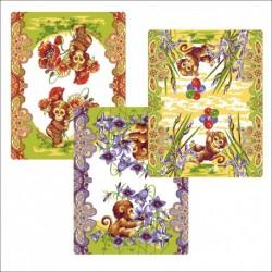 Полотенце 48*62см Обезьянка с цветами (упак.12шт)