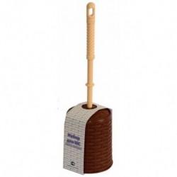 Набор для WC (ёрш+подставка) круглый Ротанг (коричневый)