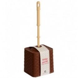 Набор для WC (ёрш+подставка) квадратный Ротанг (коричневый)