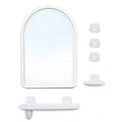 Набор для ванной комнаты Беросси 56 (белый мрамор) (зеркало 360х520мм)