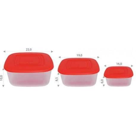 Набор контейнеров для пищевых продуктов (квадрат.) 3в1 0,93 л, 1,88 л и 3 л. (220х220х100мм)