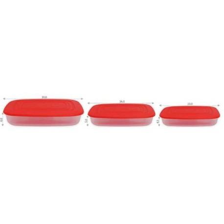 Набор контейнеров для пищевых продуктов (прямоуг.) 3в1 0,95 л, 1,5 л и 2,5 л