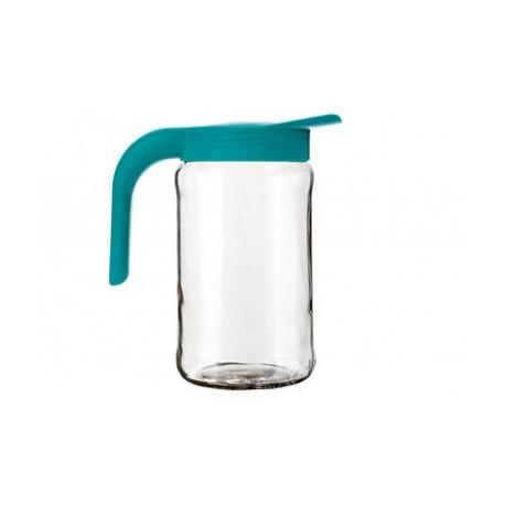 Кувшин Бочонок (бирюза) (стеклянный кувшин 1,55 л.+ крышка с ручкой)