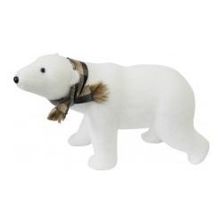 Фигура декоративная Белый медведь в клетчатом шарфе, 51*34см