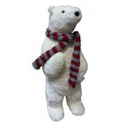 Фигура декоративная Медведь в полосатом шарфе, 20*56см, 1шт