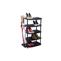 Полка для обуви широкая черная.5-ярус