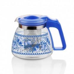 Заварочный чайник 900 мл с декором, жаропрочное стекло, метал. фильтр