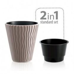 Кашпо Sandy d39см h43,9см 18л с вкладышем, кофе