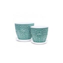 Набор керам. горшков 2шт. Былина зеленый бутон (15 , 18 см)