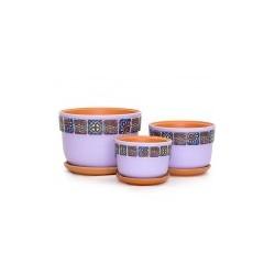 Набор керам. горшков 3шт Вечер сиреневый фундук (12, 15,5, 18 см)