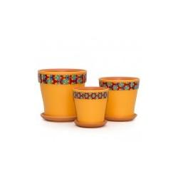 Набор керам. горшков 3шт Калейдоскоп оранжевый клен (12, 15, 18 см)