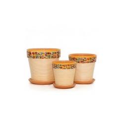 Набор керам. горшков 3шт Мозаика охра клен (12, 15, 18 см)
