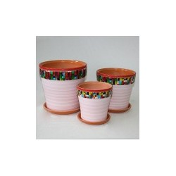 Набор керам. горшков 3шт Пиксель светло-розовый клен (12,15,18)см