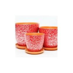 Набор керам. горшков 3шт Скань красный крокус (12, 15, 18 см)