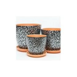 Набор керам. горшков 3шт Скань черный крокус (12, 15, 18 см)