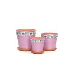 Набор керам. горшков 3шт Уют розовый клен (12,15,18)см