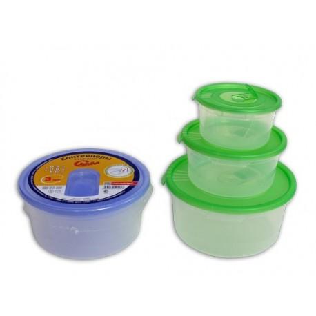 Комплект контейнер. 3шт. кругл. с клапаном (0,4+0,8+1,6л.) СВЧ