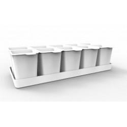 Набор стаканчиков для рассады с поддоном Flora 364х169х94,3мм (снежно-белый)