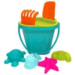 Набор для игры с песком №1 (ведерко, ситечко, совочек, грабельки, 4 формочки)