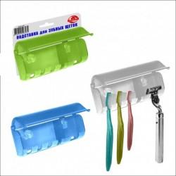 Подставка д/зубн щеток (на присосках) 3 цв (упак. 12шт)