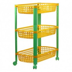 Этажерка 3-секционная для игрушек на колесах Конфетти (692x438х308мм)