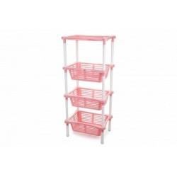 Этажерка Mommy love 4-х секционная (нежно-розовый) 401*301*935 мм
