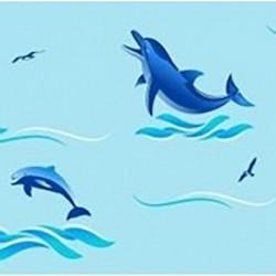 Штора для ван. комн. п/э 180см*180см Дельфины (голубой)