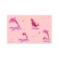 Штора для ван. комн. п/э 180см*180см Дельфины (розовый)
