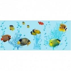 Штора для ван. комн. п/э 180см*180см Коралловые рыбы (голубой)
