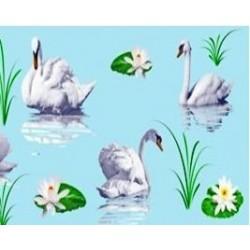 Штора для ван. комн. п/э 180см*180см Лебеди (голубой)