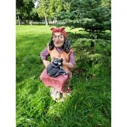 Фигура «Баба-Яга на ступе с котом» 41*45*78см