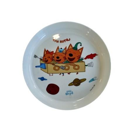Детская тарелка ТРИ КОТА Космическое путешествие, 450мл