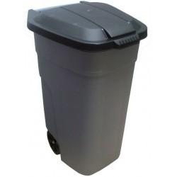 Бак для мусора с крышкой на колесах 110л серый