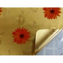 Клеенка Transparent Golden/Silver embossed PVC Tablecloth 1,40м*20м