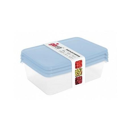 Комплект емкостей Браво для заморозки продуктов прямоугольных 1,35л (3 шт.) голубой прозрачный