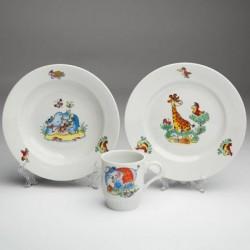 Набор посуды 3 пр.Зоопарк  (т.мел.200 мм, т.гл.200 мм, кр.210 мл) Русское поле