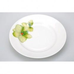 Тарелка мелкая 240 мм Гладкий край Орхидея зеленая