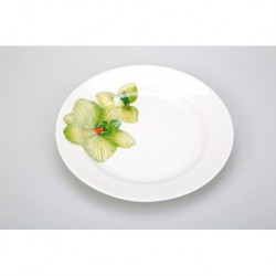 Тарелка мелкая 175 мм Гладкий край Орхидея зеленая