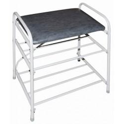 Банкетка-этажерка для обуви 2-х ярусная, с мягким сиденьем (серый)