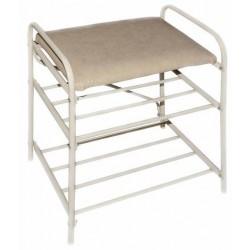 Банкетка-этажерка для обуви 2-х ярусная, с мягким сиденьем (бежевый)