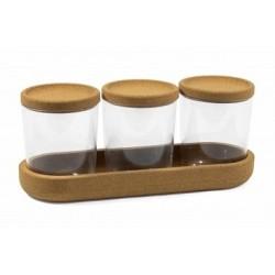 Набор аксессуаров для ванной комнаты Korely (прозрачный) 256х110,2х90,9 мм (крышка из пробки)