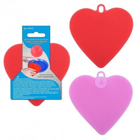 Щетка силиконовая для мытья посуды, овощей и фруктов Нежное сердце 11*11см