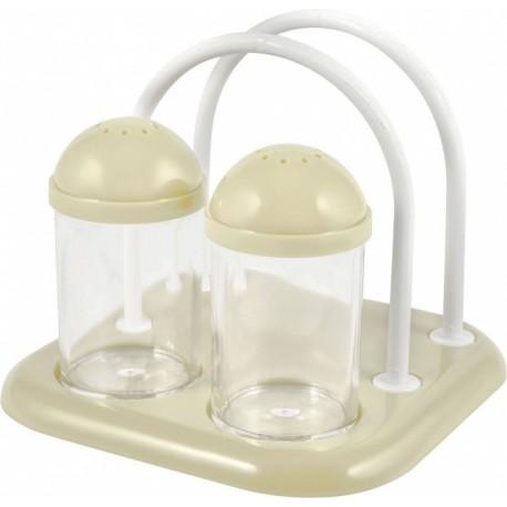 Набор для специй 2 х 50 мл с подставкой для салфеток молочный