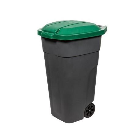 Бак для раздельного сбора мусора с крышкой на колесах 110л зеленый