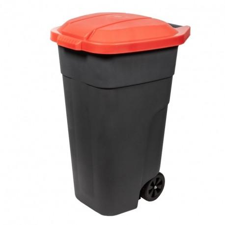 Бак для раздельного сбора мусора с крышкой на колесах 110л красный